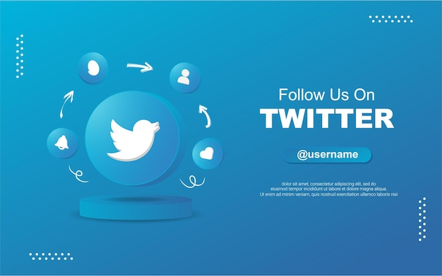 Śledź nas na twitterze w mediach społecznościowych w ikonach powiadomień z okrągłym okręgiem 3d