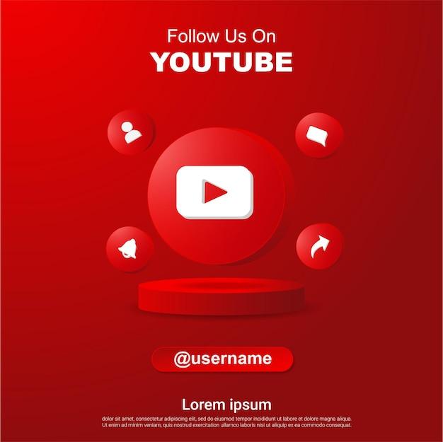 Śledź nas na youtube kwadratowy baner w mediach społecznościowych z logo 3d