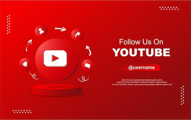 Śledź nas na youtube w mediach społecznościowych w 3d okrągłych ikonach powiadomień