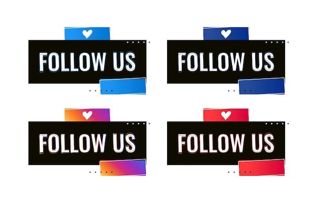 Śledź nas szablon banera mediów społecznościowych