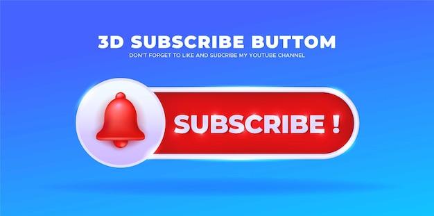 Śledź nas w mediach społecznościowych youtube z przyciskiem subskrypcji 3d wektor premium
