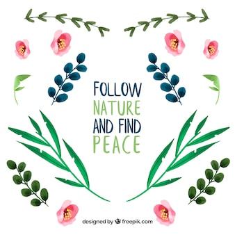 Śledź naturę i znajdź spokój. napis cytat z motywem kwiatowym i kwiatami