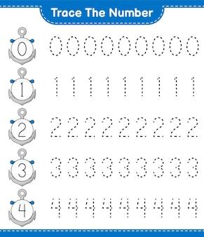 Śledź numer śledzenie numeru za pomocą arkusza do wydrukowania gry anchor educational dla dzieci