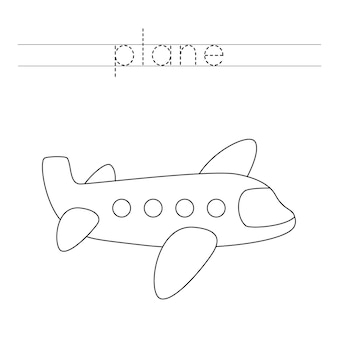 Śledź słowo. kolorowy samolot. ćwiczenia pisma ręcznego dla dzieci w wieku przedszkolnym.