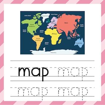 Śledź słowo - mapa. arkusz edukacyjny dla dzieci. materiały do śledzenia śledzenia dla szkoły i przedszkola. karta flash ze słowem mapy. ilustracji wektorowych