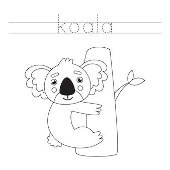 Śledź słowo. śliczna koala. ćwiczenia pisma ręcznego dla dzieci w wieku przedszkolnym.