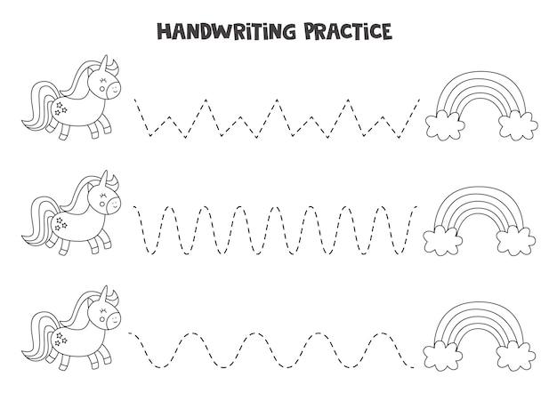 Śledź słowo. śliczny jednorożec i tęcze. ćwiczenia pisma ręcznego dla dzieci w wieku przedszkolnym.