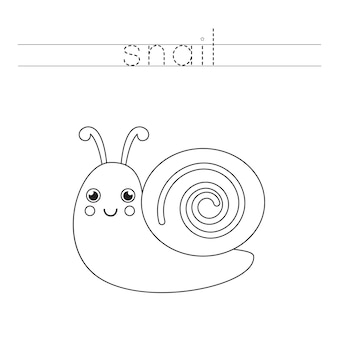 Śledź słowo. śliczny ślimak. ćwiczenia pisma ręcznego dla dzieci w wieku przedszkolnym.