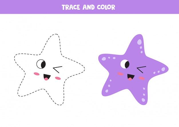 Śledź uroczą rozgwiazdę kawaii. kolorowanki dla dzieci.