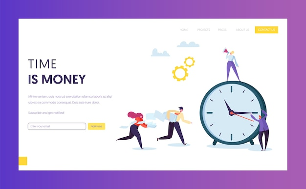 Śledzenie czasu biznesmena koncepcja landing page