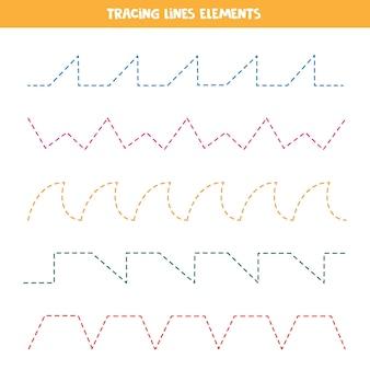 Śledzenie elementów linii do tworzenia arkusza. ćwiczenia pisma ręcznego dla dzieci.