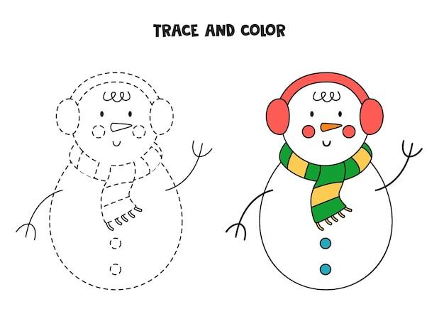 Śledzenie i kolor kreskówka boże narodzenie bałwan. arkusz dla dzieci.