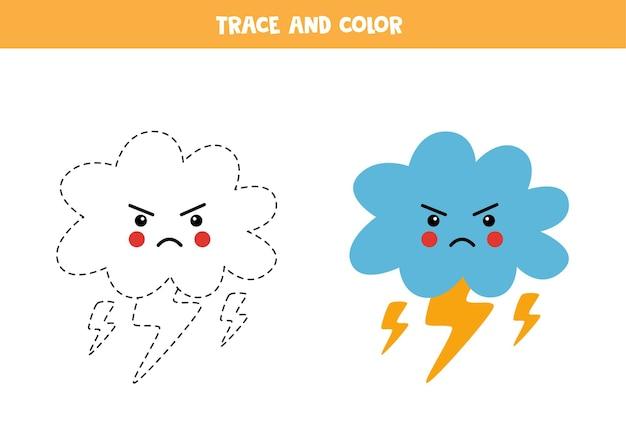 Śledzenie i kolorowanie chmury kawaii z błyskawicami. gra edukacyjna dla dzieci. praktyka pisania i kolorowania.
