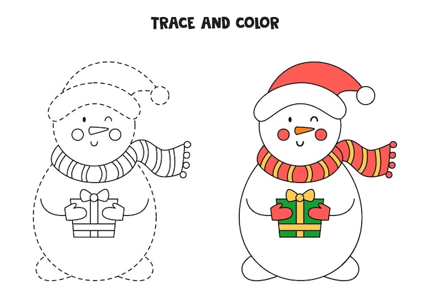 Śledzenie i kolorowanie ślicznego bałwana. arkusz dla dzieci.
