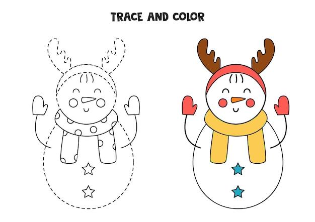 Śledzenie i kolorowanie ślicznego bałwana. gra edukacyjna dla dzieci. praktyka pisania i kolorowania.