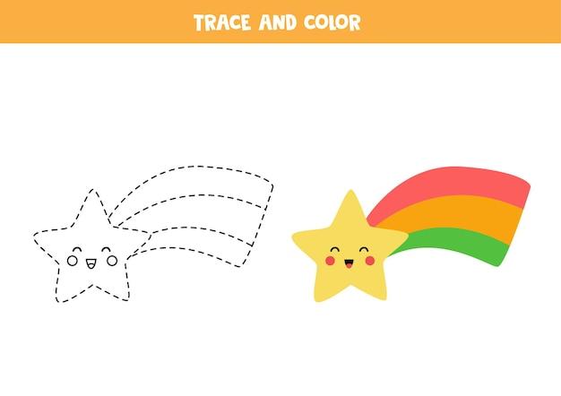 Śledzenie i kolorowanie ślicznej tęczowej gwiazdy. gra edukacyjna dla dzieci. praktyka pisania i kolorowania.