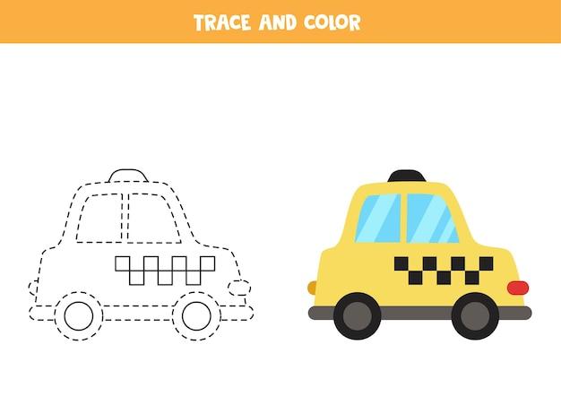 Śledzenie i kolorowanie taksówki z kreskówek. gra edukacyjna dla dzieci. praktyka pisania i kolorowania.