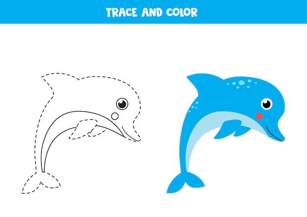 Śledzenie i pokolorowanie uroczego delfina. gra edukacyjna dla dzieci. praktyka pisania i kolorowania.