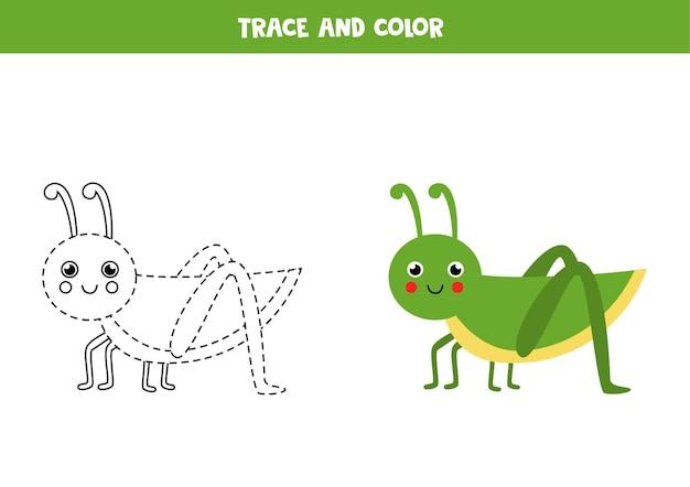 Śledzenie i pokolorowanie uroczego konika polnego. gra edukacyjna dla dzieci. praktyka pisania i kolorowania.