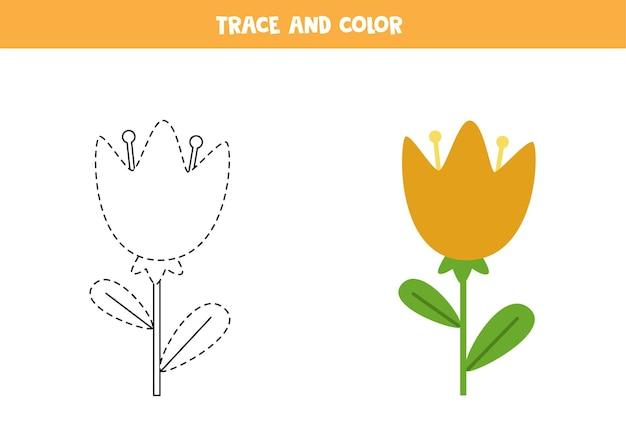 Śledzenie i pokolorowanie uroczego kwiatu. gra edukacyjna dla dzieci. praktyka pisania i kolorowania.