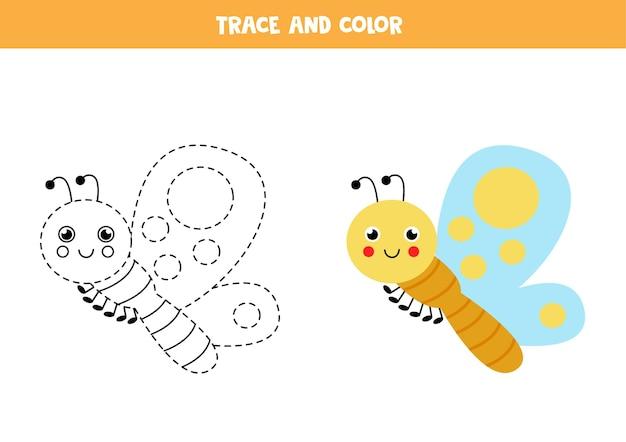 Śledzenie i pokolorowanie uroczego motyla. gra edukacyjna dla dzieci. praktyka pisania i kolorowania.