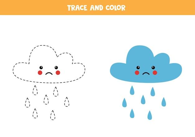 Śledzenie i pokolorowanie uroczej chmury deszczowej. gra edukacyjna dla dzieci. praktyka pisania i kolorowania.