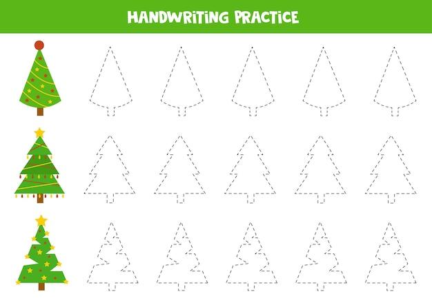Śledzenie konturów kreskówek choinek jodły. ćwiczenia pisma ręcznego.