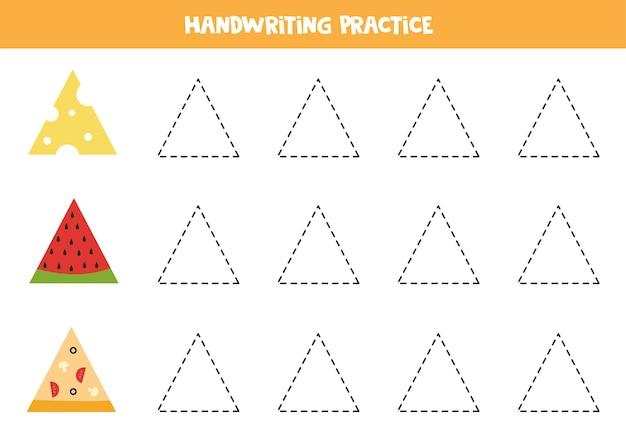 Śledzenie konturów obiektów trójkątnych. praktyka pisma ręcznego dla dzieci.