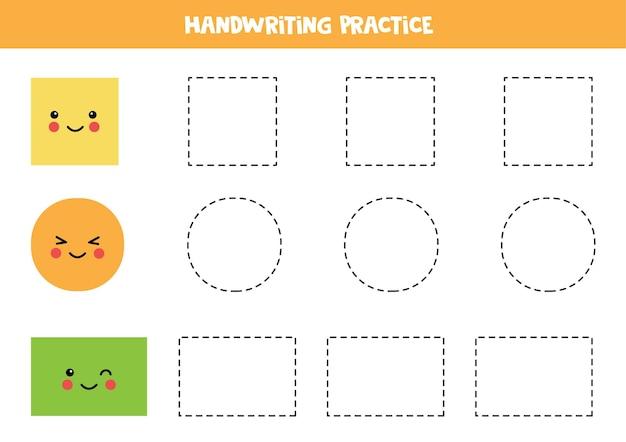 Śledzenie konturów uroczego koła, kwadratu i prostokąta. praktyka pisma ręcznego dla dzieci.
