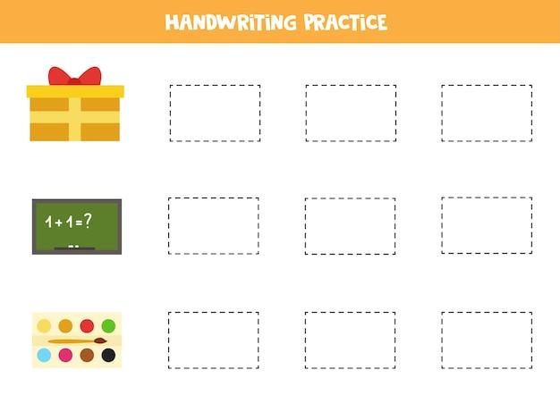 Śledzenie konturów uroczych prostokątnych obiektów. ćwiczenia pisma ręcznego dla dzieci.