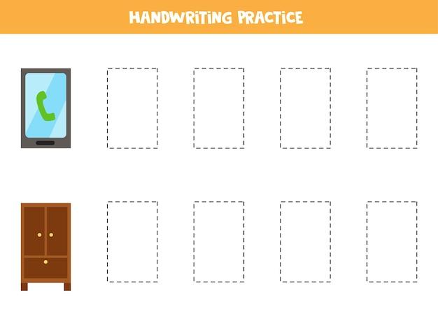 Śledzenie konturów uroczych prostokątnych obiektów. praktyka pisma ręcznego dla dzieci.