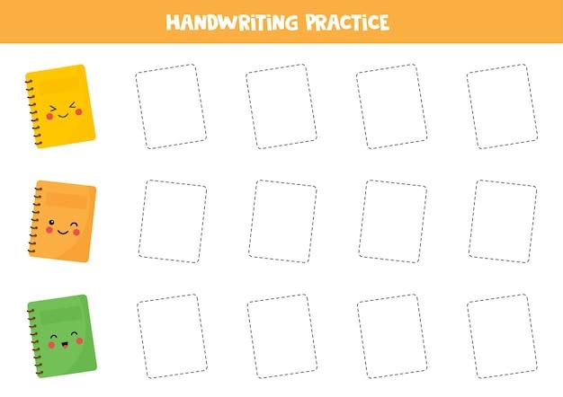Śledzenie konturów uroczych zeszytów z kawaii. ćwiczenia pisma ręcznego dla dzieci.