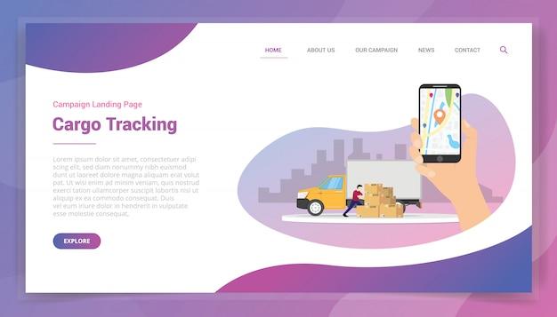 Śledzenie ładunku online dla szablonu witryny lub kampanii projektu strony docelowej