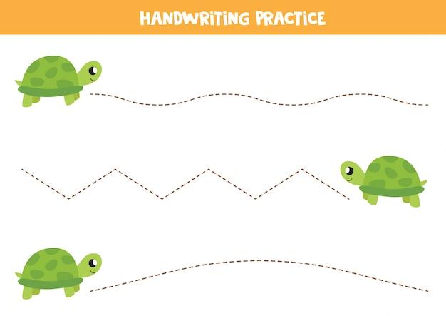Śledzenie linii z kreskówkowym żółwiem. praktyka pisma ręcznego dla dzieci.