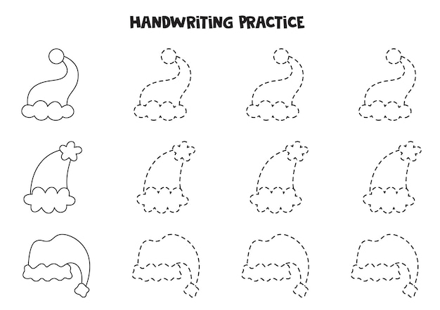 Śledzenie linii z uroczymi czapkami świątecznymi z kreskówek. ćwiczenie pisania.
