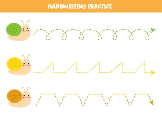 Śledzenie linii z uroczymi ślimakami. ćwiczenie pisania.