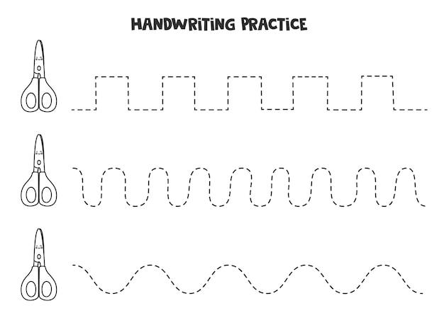 Śledzenie linii za pomocą uroczych czarno-białych nożyczek. ćwiczenie pisania.