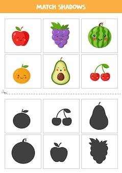 Śledzenie liter znajdź cienie uroczych owoców. karty dla kids.rs ze zdjęciami