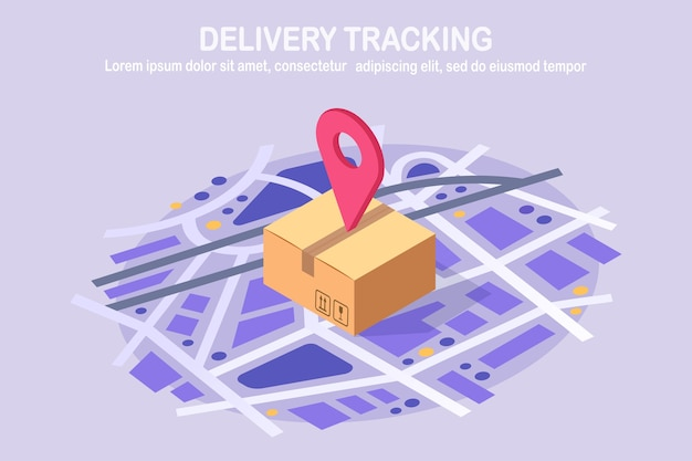 Śledzenie zamówienia. izometryczny działka z pinem, wskaźnik na mapie. wysyłka pudełka, paczki, transport ładunków