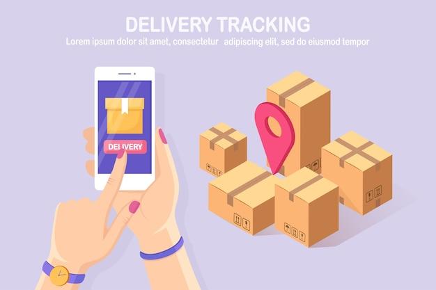 Śledzenie zamówienia. izometryczny telefon komórkowy 3d z aplikacją dostawy. wysyłka pudełka, paczki, transport ładunków. projekt kreskówki