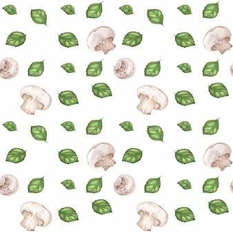 Śledzony wzór akwarela z pieczarkami i zieloną bazylią