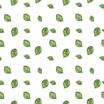 Śledzony wzór akwarela z świeżej zielonej bazylii