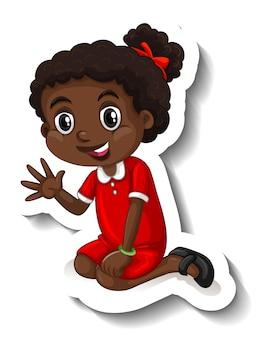 Śliczna afrykańska naklejka z postacią z kreskówek