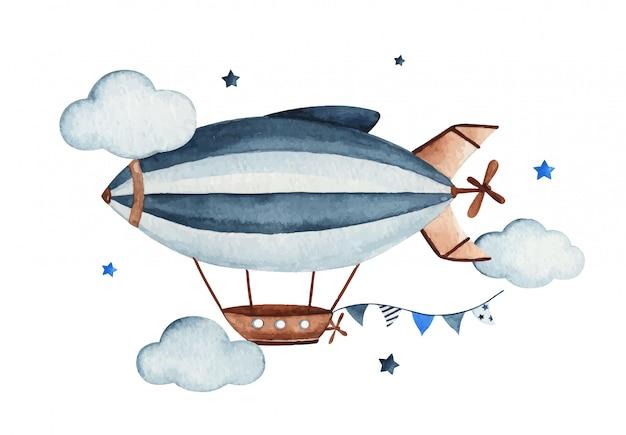 Śliczna akwareli nieba scena z lotniczym zeppelin, girlandą, chmurami i gwiazdami, akwareli ręka rysująca ilustracja.