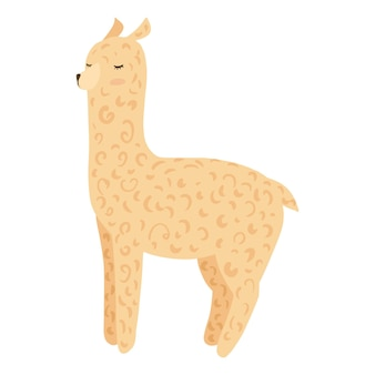 Śliczna alpaka na białym tle. miękki kolor żółty lamy dla dzieci w ilustracji wektorowych doodle.