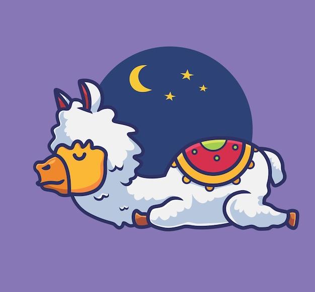 Śliczna alpaka śpi kreskówka zwierzę natura koncepcja na białym tle ilustracja płaski styl odpowiedni