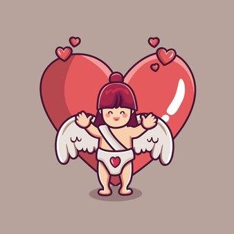 Śliczna amorek postać dziewczyny z wielkim sercem