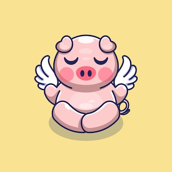 Śliczna aniołowa medytacja świni z motywem kreskówek ze skrzydłami