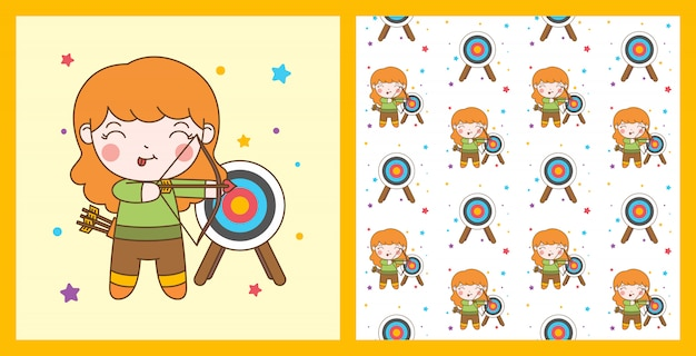 Śliczna archer dziewczyna z blondynka włosy i wzoru tłem