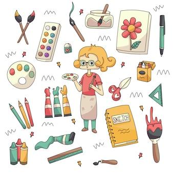 Śliczna artysta i materiały artystyczne doodle kolekcja